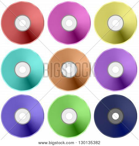 Colorful Realistic Compact  Disc Collection Isolated on White Background