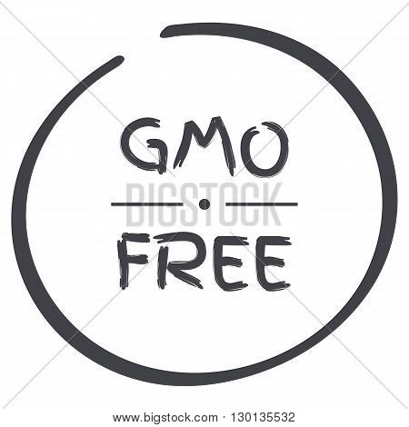 vector GMO Free grey circle logo symbol
