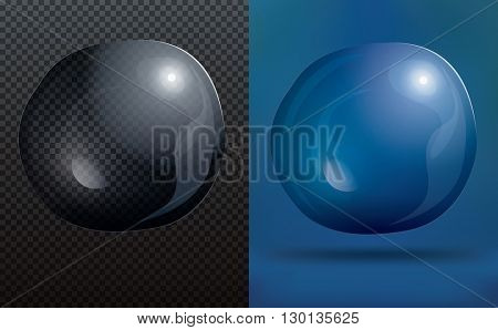 Transparent Soap Bubble on Blue Background. Vector Illustration. Water Bubble on Transparent Grid Background with Copy Space