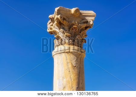 Ancient column at Kourion Archaeological Area. Limassol District, Cyprus.