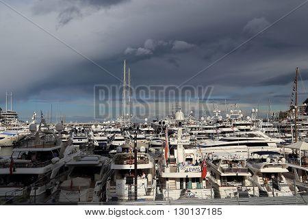 Monaco, Monaco - May 21: It is crowded with yachts port of Monaco during the Formula 1 racing May 21, 2015 in Monaco, Monaco.