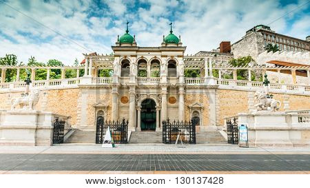 beautiful entrance to the Buda Castle with sculptures of lion