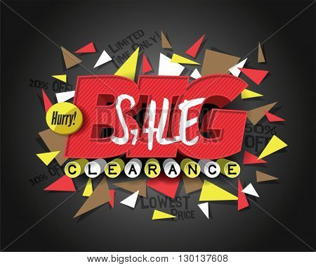 Big Sale with abstract triangle elements. Sale background. Sale tag. Sale poster. Sale vector. Vector illustration.