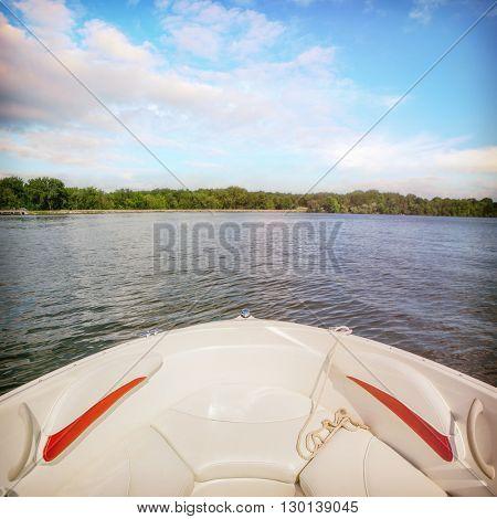 Speedboat on an inland lake.  Instagram filtered