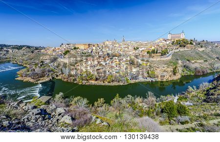 Panoramic view of the historic city of Toledo with river Tajo in Castile-La Mancha Spain
