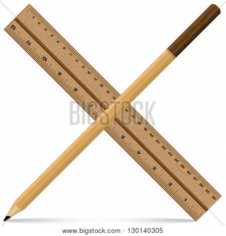 Ruler with Pencil on a wooden design. Wooden ruler and pencil isolated on white background. Object tool.