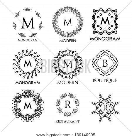 Set of luxury, simple and elegant blue monogram design templates. Good for labels and logos. Vector illustration. Line style. Big set of monograms. Monogram design. Vector monogram. Isolated on white.