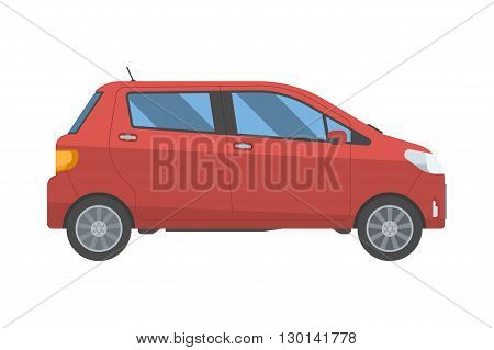 Hatchback New Red Family Car Isolated On White Background