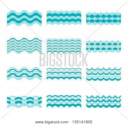 Seamless blue wave vector patterns. Wave blue pattern sea and element water wave set illustration