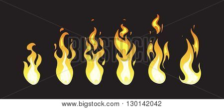 Cartoon comic vector fire animation frames for computer game. Fire energ for computer design, animation fire illustration