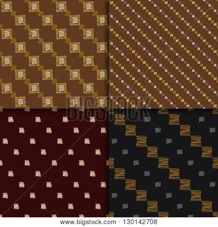 African pattern. Tribal seamless background. Abstract seamless patterns, vector set. Checkered patterns. brown abstract pattern. Hand drawn, ethnic pattern set.