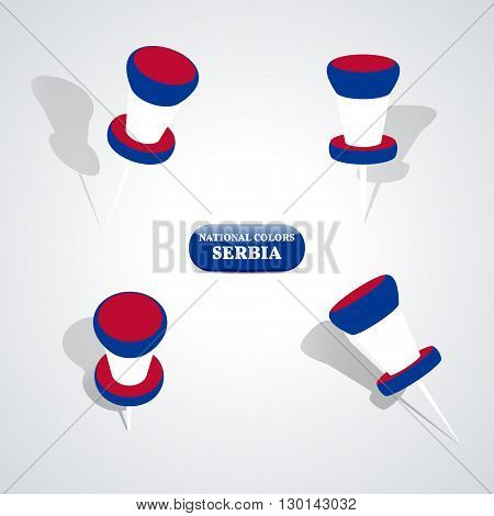 Set of pushpin in the national colors of Serbia vector illustration.