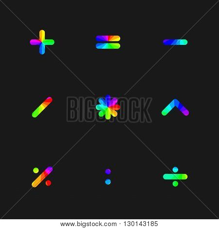 Rainbow symbols of mathematical operations with rounded corners vector illustration.