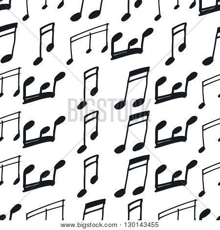 Seamless pattern with music notes. Hand-drawn music seamless background, black and white