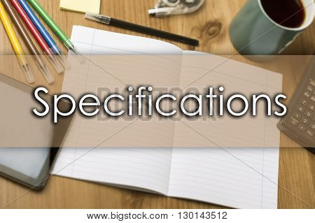 Specifications - Business Concept With Text