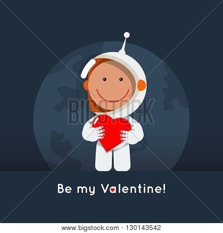 Cute flat style astronaut with heart in his hands. Gretting card for valentine's day as cosmic love sign. Space vector eps illustration