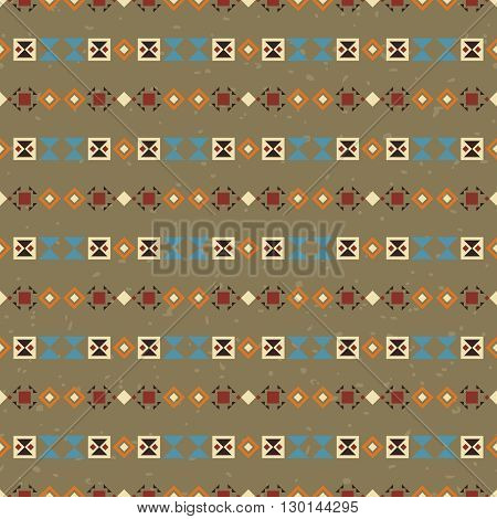 Geometric ethnic striped seamless pattern. Abstract aztec background