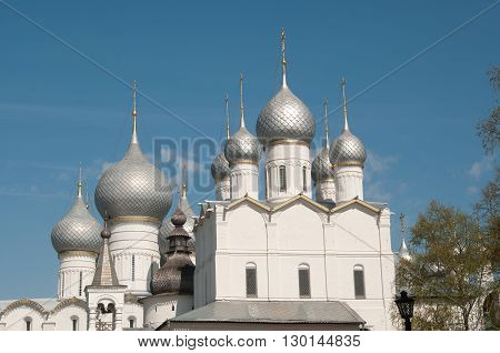 Rostov the Great in spring view to the kremlin The Church Of the Resurrection and the Cathedral of the Assumption. The Golden Ring of Russia
