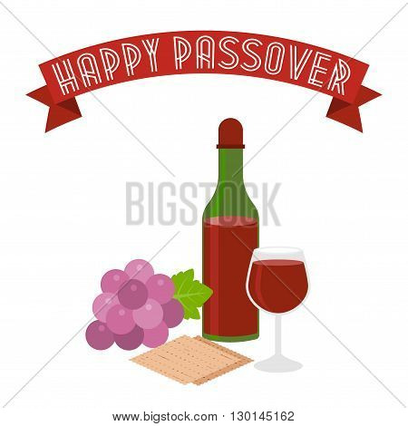 Happy passover with grapes, wine, matzo, flat design