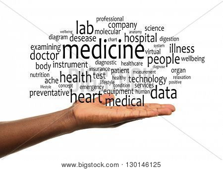 Male hands with word cloud. Medical concept