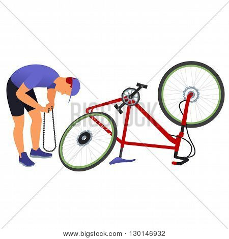 Bicycle Travel. Man Repairing A Bicycle Chain.