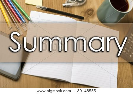 Summary - Business Concept With Text