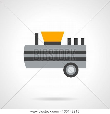 Agricultural cargo tank on wheels. Loading of flour. Commercial transportation of loose foods, farm products. Flat color style vector icon.