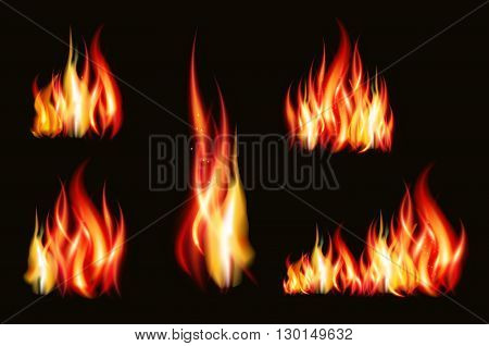 Fire flame strokes realistic isolated on black background illustration.