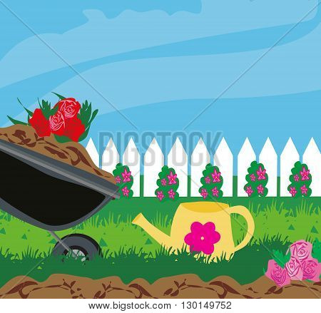 planting flowers in the garden , vector illustration