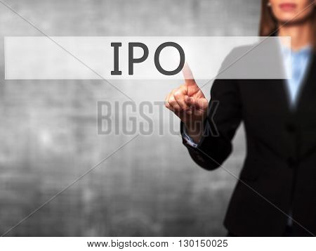 Ipo - Businesswoman Hand Pressing Button On Touch Screen Interface.
