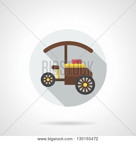 Three-wheeled cart with umbrella, long shadow design. Mobile shop for street sales food, desserts and beverages for festivals. Round flat color style vector icon.
