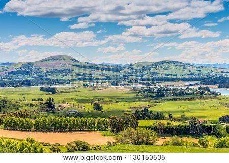 Hill view farm rural area - Karitane and Waikouaiti River near Dunedin Otago South Island New Zealand