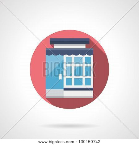 Store with glass facade and blue awning. Market exterior, modern urban architecture. Storefronts and showcases. Round flat color style vector icon.