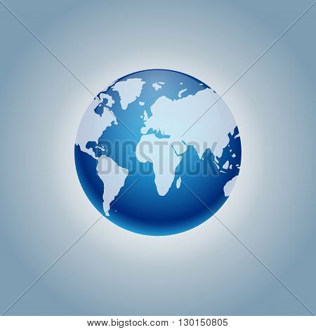 Vector planet Earth icon. Flat planet Earth icon. Flat design vector illustration for web banner, web and mobile, infographics. Vector Earth icon graphic. Vector icon isolated on gradient background.