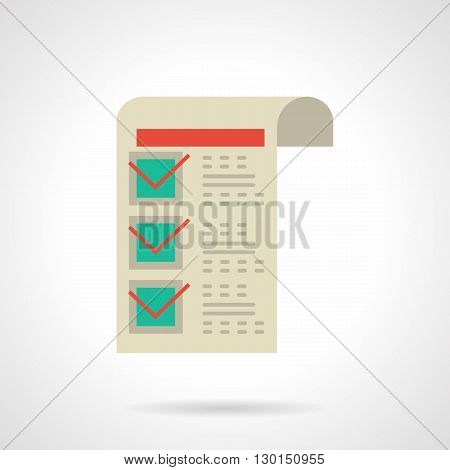 Paper sheet with red tick on green checkbox. Invoice for goods, freight transportation, delivery of goods in shops and market. Flat color style vector icon.