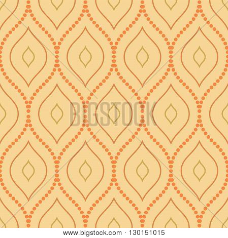 Seamless vector orange ornament. Modern geometric pattern with repeating elements