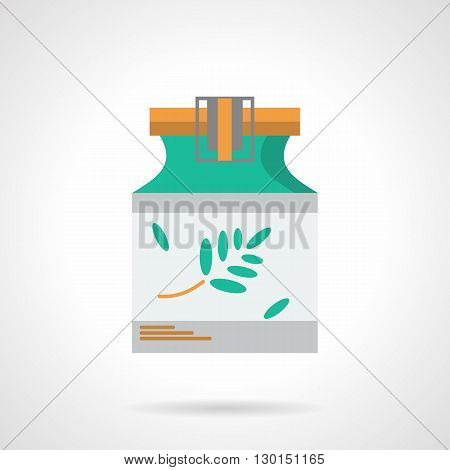 Green jar with plant branch with leaves on a white label and with yellow lid. Natural medicine in  pharmacology, recipes and preparation of herbal medicines. Flat color style vector icon.