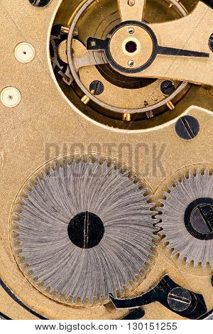 The interior of the retro clock mechanism