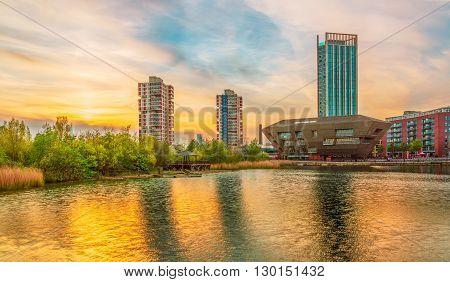 Golden Sunset at Canada Water London, UK