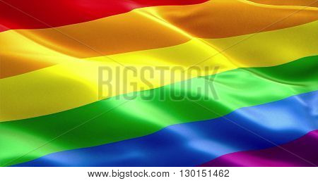 waving colorful of gay pride rainbow flag civil right flag seamless looping 3D rendering peace in the world concept