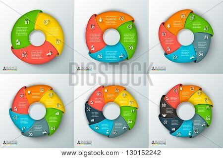 Vector swirl infographic. Template for cycle diagram, graph, presentation and round chart. Business concept with 3, 4, 5, 6, 7 and 8 options, parts, steps or processes. Data visualization.