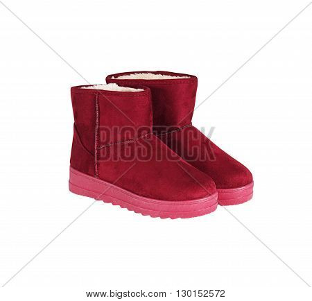 Winter Red Boots On White Background, Clipping Path.