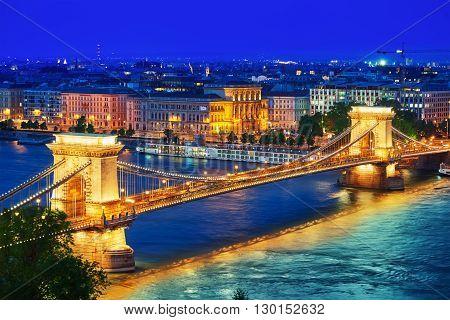 Szechenyi Chain Bridge View From Buda Hill At Dusk. Budapest, Hungary.