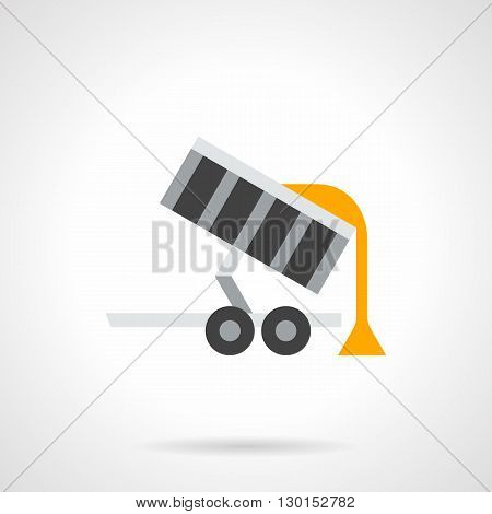 Unloading trailer with yellow grains. Agriculture transportation of cereal crops. Farming equipment for  summer and autumn work. Flat color style vector icon.