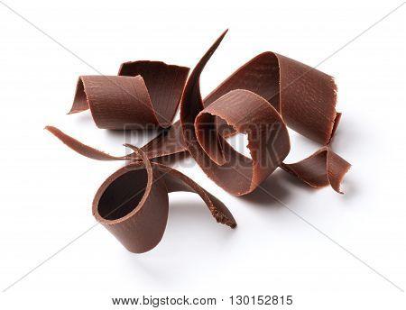 group of dark chocolate shavings isolated on white