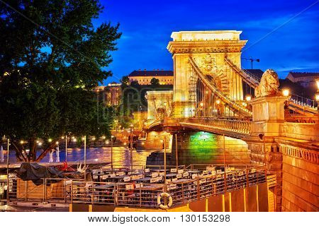 BUDAPEST , HUNGARY-MAY 03 , 2016: Szechenyi Chain Bridge view from Pest side. Night time. Budapest.