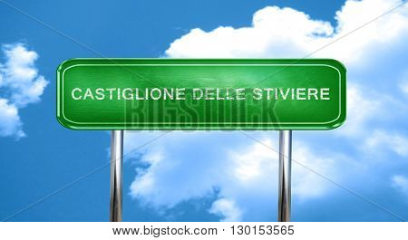 Catiglione delle stiviere vintage green road sign with highlight