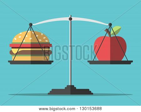 Hamburger and apple on scales. Balance between fast and healthy food. Diet nutrition fitness and health concept. EPS 8 vector illustration no transparency