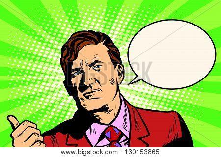 Male businessman portrait poster pop art retro style. Promo businessman