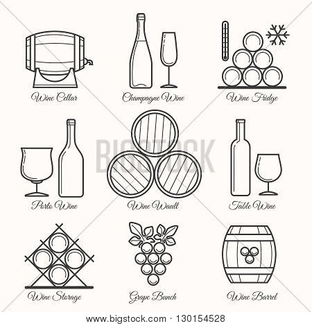 Wine line icons. Winemaking process and wine drinking thin line signs. Vector illustration
